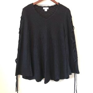 Style & Co Lace Up Sleeve Black Sweater